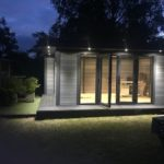 Garden Office At Night With External Lighting Side Front Step Back Cheek