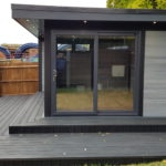 Side View Large Decking Composite Garden Room