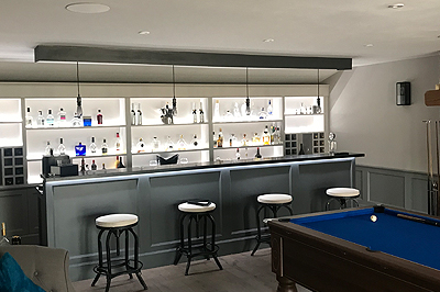 the garden room used as a games and bar room
