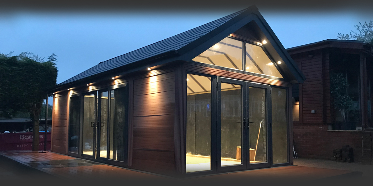 Timber Effect Garden Room With Gable End