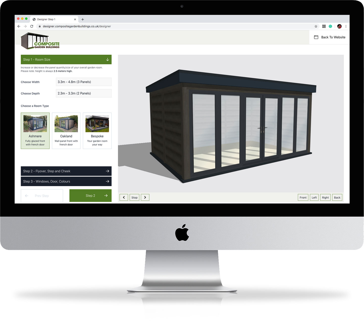 Online Garden Room Designer on computer