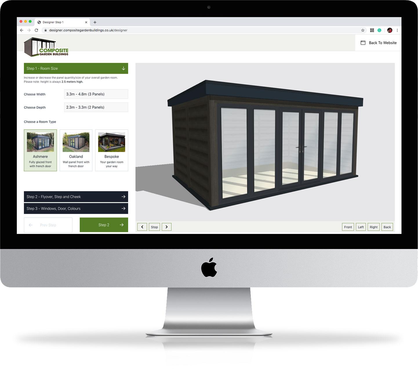 Online Garden Room Designer on computer
