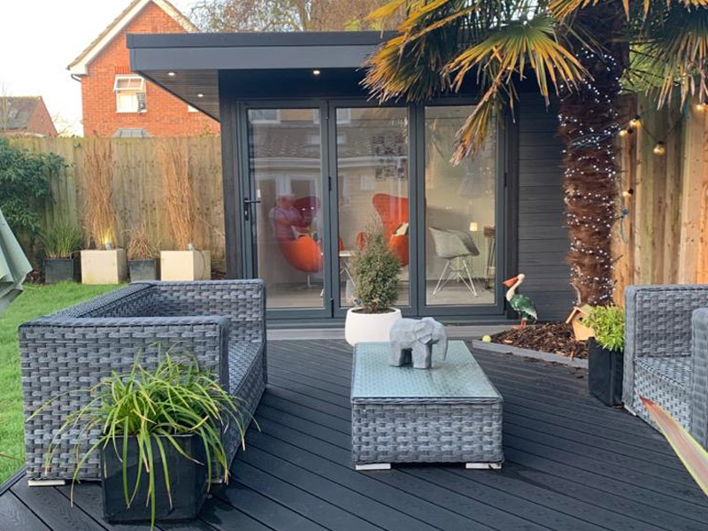 Garden Room In Peterborough, With Composite Decking For Outdoor Seating Area