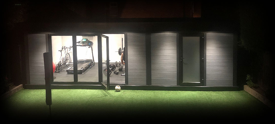 Garden Room Gym At Night With Lights On